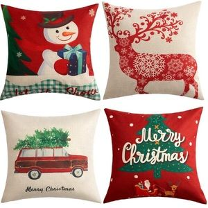 Other - Set of 4 Christmas Pillow Covers Santa Snowmen